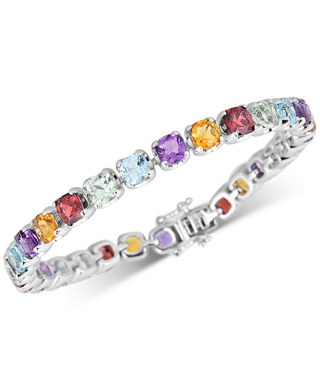 Macy's Multi-Gemstone Tennis Bracelet (17-3/8 ct. t.w.) in Sterling Silver