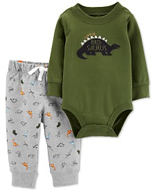 Carter's Baby Boys 2-Pc. Dinosaur Bodysuit & Jogger Pants Cotton Set