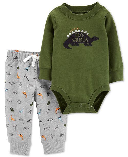 Carter's Baby Boys 2-Pc. Dinosaur Bodysuit & Jogger Pants Cotton Set