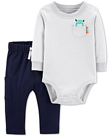 Baby Boys 2-Pc. Monster Bodysuit & Jogger Pants Cotton Set
