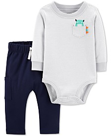 Carter's Baby Boys 2-Pc. Monster Bodysuit & Jogger Pants Cotton Set