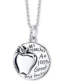 """World's Greatest Teacher"" Apple Pendant Necklace In Sterling Silver, 18"" Chain"