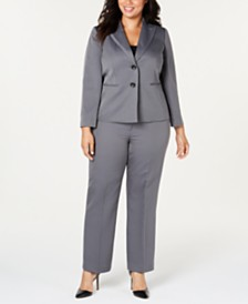 Le Suit Plus Size Herringbone Pantsuit