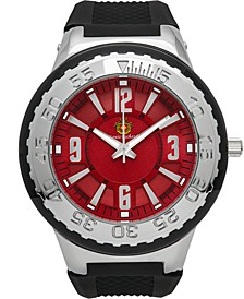 Pendragon Men's Watch Black Silicone Strap, Silver Case, Silver Bezel, Red Dial, Silver Indexes, 53mm