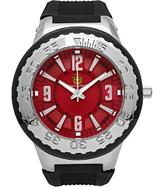 Louis Richard Pendragon Men's Watch Black Silicone Strap, Silver Case, Silver Bezel, Red Dial, Silver Indexes, 53mm