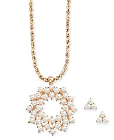 "Charter Club Gold-Tone Imitation Pearl Cluster Pendant Necklace & Stud Earrings Set, 17"" + 2"" extender, Created for Macy's"