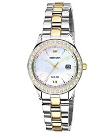 Seiko Watch, Women's Solar Two Tone Stainless Steel Bracelet 28mm SUT074