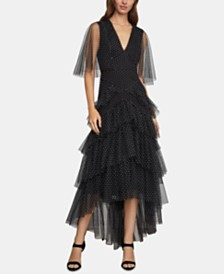 BCBGMAXAZRIA Flocked-Dot Tulle Maxi Dress