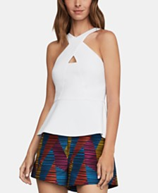 BCBGMAXAZRIA Cross-Neck Peplum Top