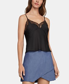 BCBGMAXAZRIA Lace-Trim Satin Top