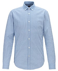 BOSS Men's Rikard Slim-Fit Graphic-Print Cotton Seersucker Shirt