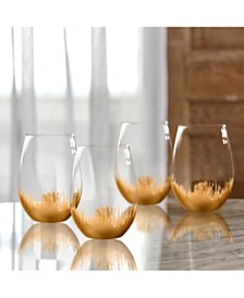 Jay Imports Sedona Gold Stemless Glasses - Set of 4