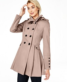 Water Resistant Hooded Double-Breasted Skirted Raincoat