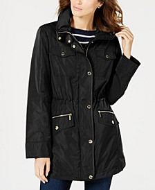 Petite Hooded Anorak Raincoat, Created for Macy's