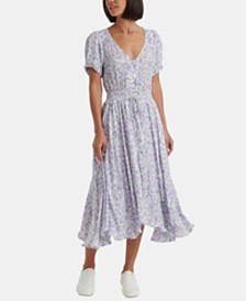 Lucky Brand Roxy Floral Smocked Midi Dress