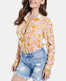 GUESS Madyson Printed Long-Sleeve Shirt