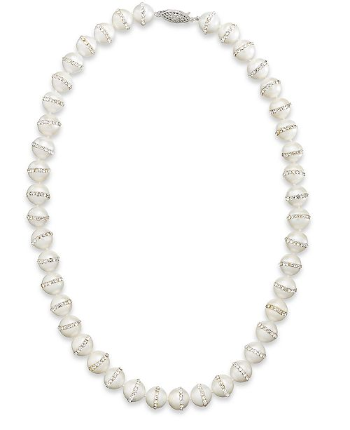 Macy's Sterling Silver Necklace, Cultured Freshwater Pearl (10-11mm) and Crystal Halo Necklace