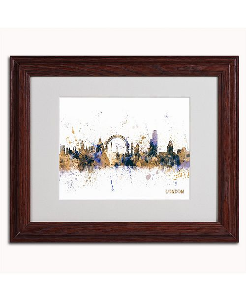 "Trademark Global Michael Tompsett 'London England Skyline II' Matted Framed Art - 14"" x 11"""