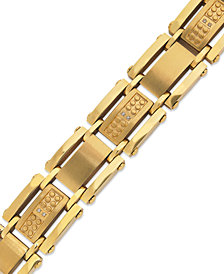 Men's Single-Cut Diamond Bracelet in Stainless Steel and Yellow Ion-Plated (1/10 ct. t.w.)