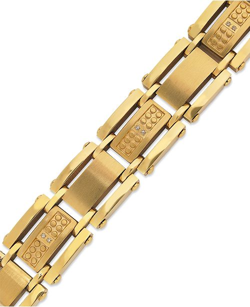 Macy's Men's Single-Cut Diamond Bracelet in Stainless Steel and Yellow Ion-Plated (1/10 ct. t.w.)