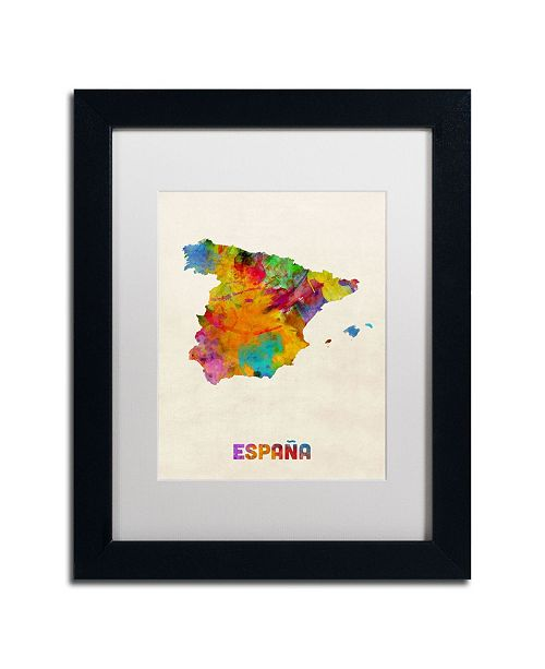 "Trademark Global Michael Tompsett 'Spain Watercolor Map' Matted Framed Art - 14"" x 11"""