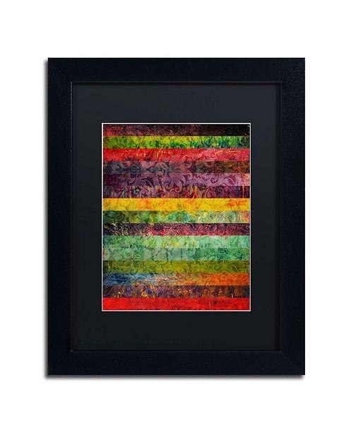 "Trademark Global Michelle Calkins 'Brocade and Stripes 2' Matted Framed Art - 14"" x 11"""
