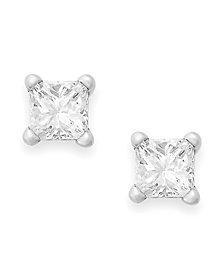 Princess-Cut Diamond Stud Earrings in 10k Yellow or White Gold (1/4 ct. t.w.)