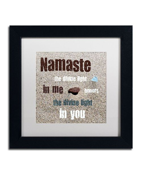 "Trademark Global Michelle Calkins 'Namaste with Pebble and Beach Glass' Matted Framed Art - 11"" x 11"""