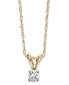 Diamond Accent Pendant Necklace in 10k Gold