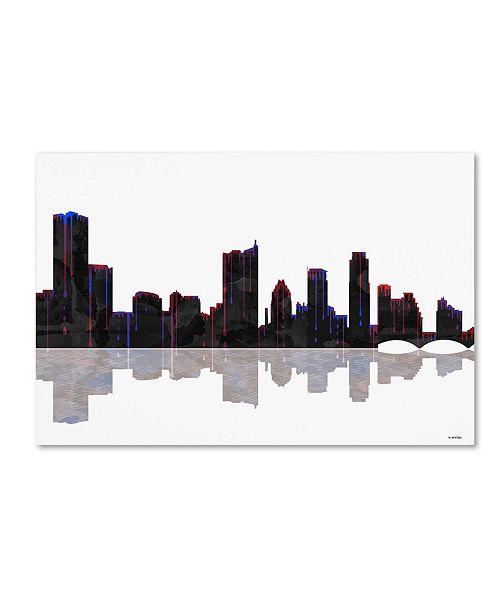 "Trademark Global Marlene Watson 'Austin Texas Skyline' Canvas Art - 12"" x 19"""