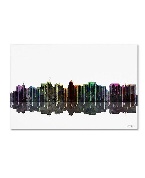 """Trademark Global Marlene Watson 'Madison Wisconsin Skyline II' Canvas Art - 12"""" x 19"""""""