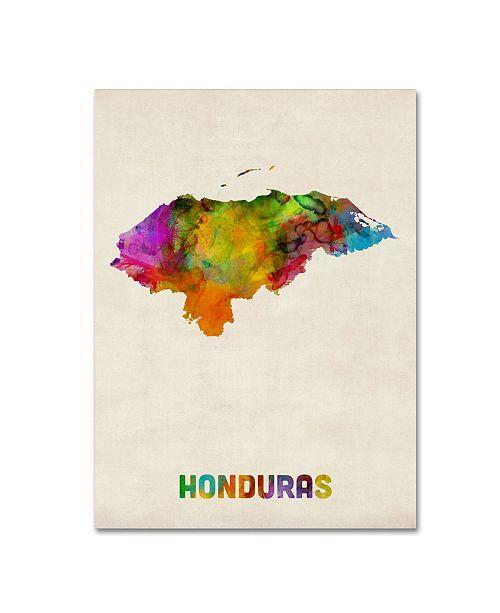 """Trademark Global Michael Tompsett 'Honduras Watercolor Map' Canvas Art - 14"""" x 19"""""""