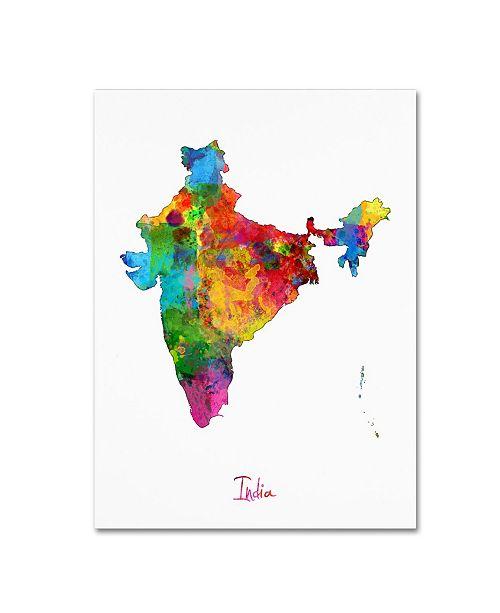 "Trademark Global Michael Tompsett 'India Watercolor Map II' Canvas Art - 14"" x 19"""