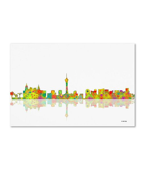 "Trademark Global Marlene Watson 'Las Vegas Nevada Skyline' Canvas Art - 12"" x 19"""