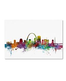 """Michael Tompsett 'St. Louis Missouri Skyline' Canvas Art - 12"""" x 19"""""""