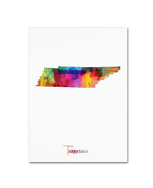 """Trademark Global Michael Tompsett 'Tennessee Map' Canvas Art - 14"""" x 19"""""""