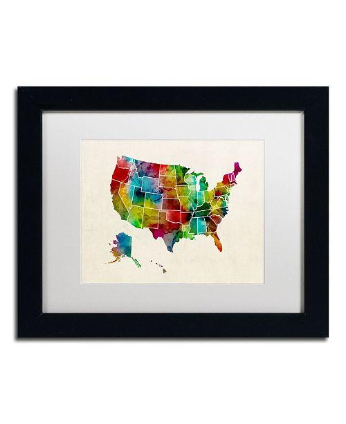 "Trademark Global Michael Tompsett 'United States Watercolor Map 2' Matted Framed Art - 11"" x 14"""