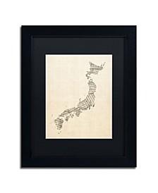 "Michael Tompsett 'Old Sheet Music Map of Japan' Matted Framed Art - 11"" x 14"""