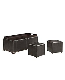 Upholstered Storage Bench with 2 Side Ottoman