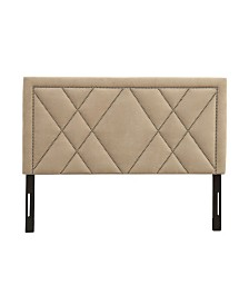 AC Pacific Contemporary Upholstered Tufted Nailhead Queen Headboard