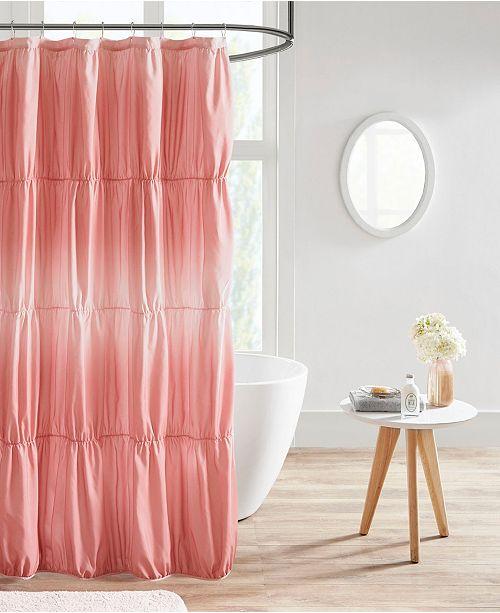 Intelligent Design Ellen Ruched Ombre Printed Shower Curtain