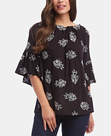 Embroidered Convertible Flare-Sleeve Top