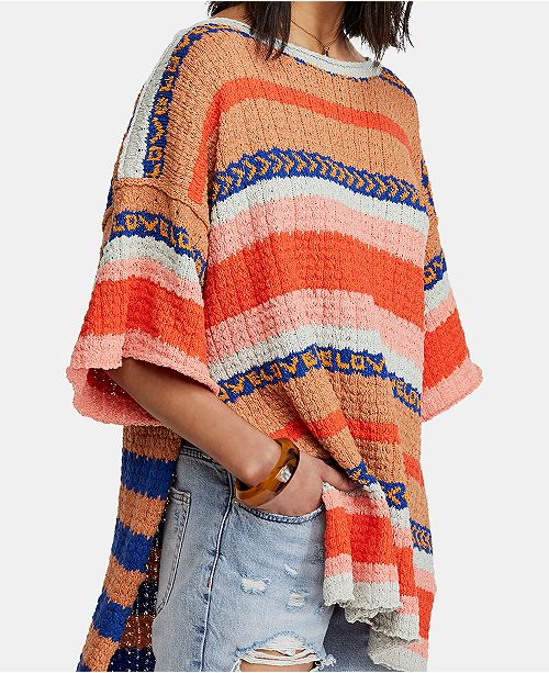 Free People Hidden Love Striped Boat-Neck Tunic