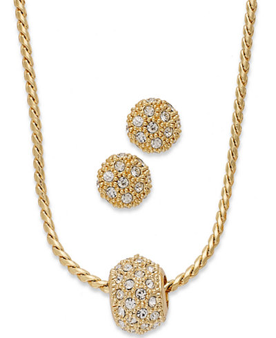 Charter club gold tone pave crystal ball necklace and earring charter club gold tone pave crystal ball necklace and earring jewelry set mozeypictures Choice Image