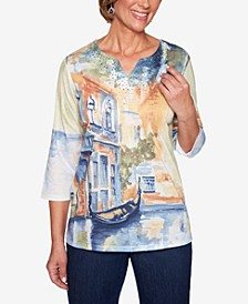 Lake Tahoe Scenic-Print Split-Neck Top