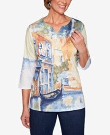 Alfred Dunner Lake Tahoe Scenic-Print Split-Neck Top