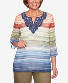 Alfred Dunner Lake Tahoe Striped Embroidered Top
