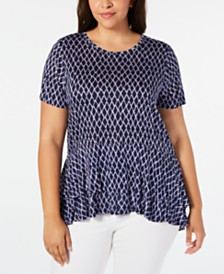 MICHAEL Michael Kors Plus Size Double-Hem Top
