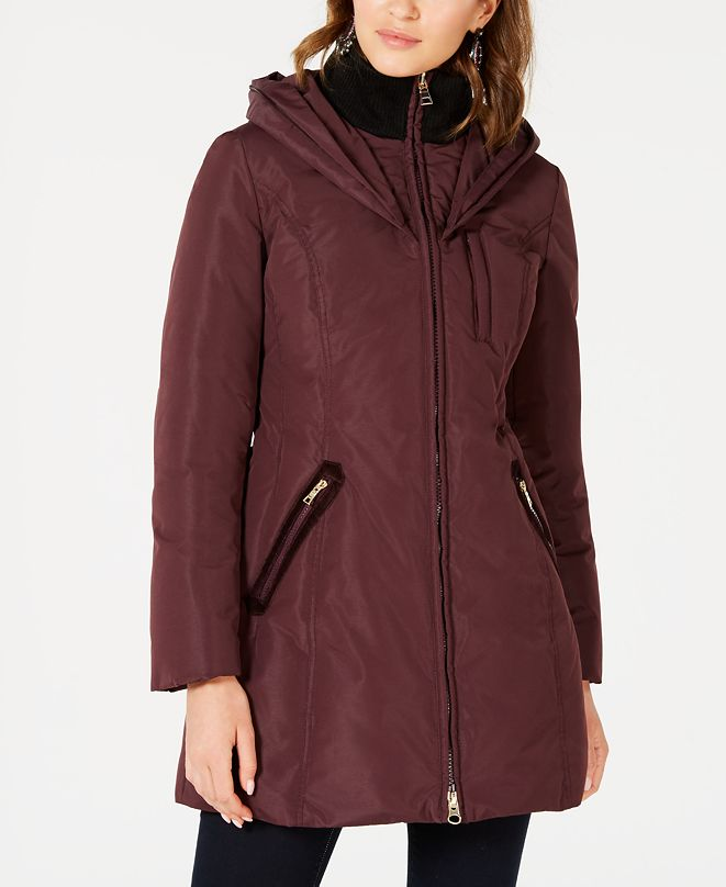 INC International Concepts INC Front-Zip Faux-Fur Trim Hooded Puffer Coat, Created for Macy's