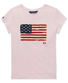 Polo Ralph Lauren Little Girls Cotton Jersey Patriotic T-Shirt